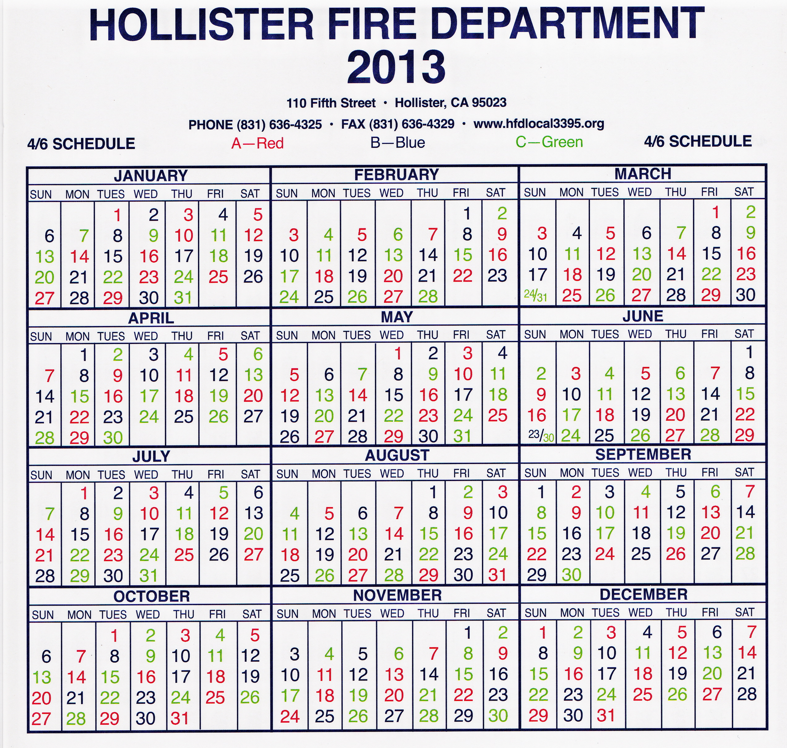 Hollister Fire Department Local 3395 Shift Calendar