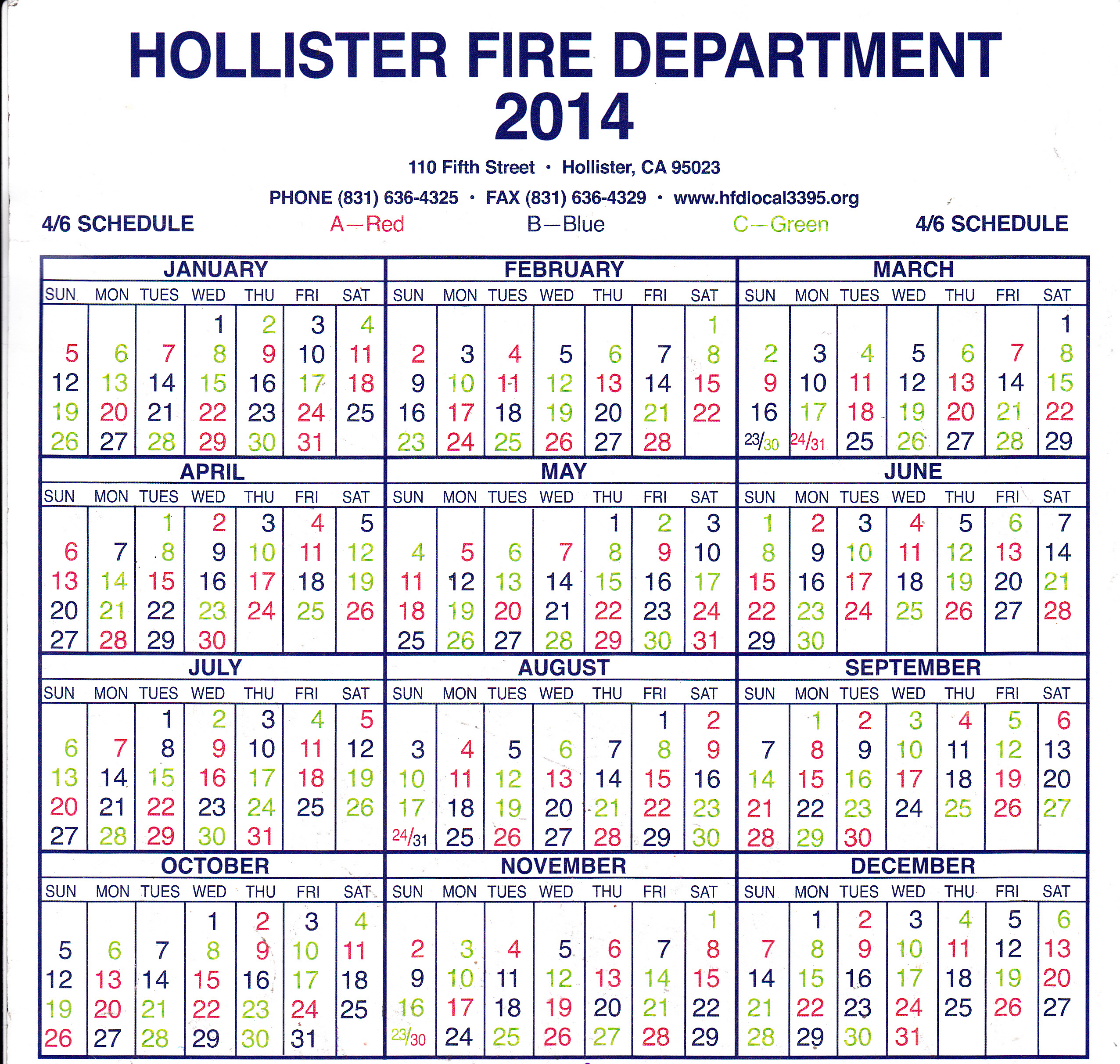 Hollister Fire Department Local 3395 - Shift Calendar